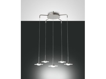 LED Hängelampe nickel-matt Fabas Luce Crow 3600lm 5-flg. dimmbar