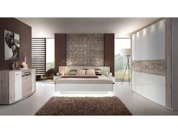 Attraktiv Schlafzimmer Mit Bett 180 X 200 Cm Sandeiche/ Weiss Hochglanz Woody  77 00439 Forte