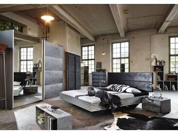 Jugendzimmer Mit Bett 140 X 200 Cm Industrial-Print-Optik/ Graphit Woody 127-00117 Rauch Select Workbase Grau Holz Modern