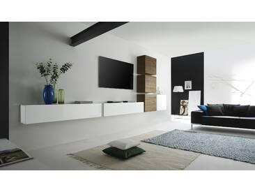 Fesselnd Wohnwand Weiss Lack/ Eiche Natur Woody 12 00857 Classico Cube Holz Modern