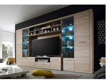 Tv Hifi Media Wohnwand Eiche Sonoma Mit Led Beleuchtung Woody 61 00189  Hbz Meble