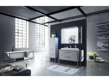 Badezimmer Im Industrial Look Oxid Hellgrau Quer Mit Beleuchtung Und Usb Pelipal Solitaire 9025 Holzwerkstoffe Modern