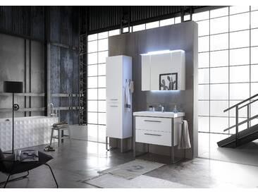 Badezimmer Weiss Matt Industrial Look Mit Mineralmarmor Waschtisch  Pelipal Solitaire 9025 Weiß Holzwerkstoffe Modern