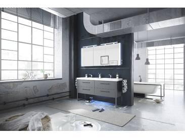 Badezimmer Mit Doppelwaschtisch Mineralmarmor Industrial Design Grau Matt Mit Spiegelschrank Pelipal Solitaire 9025 Holzwerkstoffe Modern