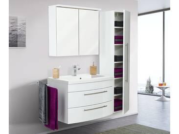 Badmöbelset Bella 80 mit runder Front Spiegelschrank LED Hochschrank weiss hg