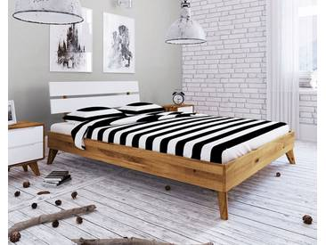 Doppelbett Retro 160x200cm Wildeiche & weiß