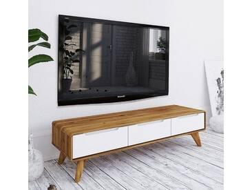 TV Element 134cm Retro Wildeiche & weiß