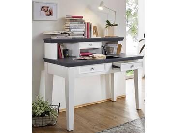 Schreibtisch Mit Aufsatz U0027Luzernu0027 Paulownia Holz Weiß