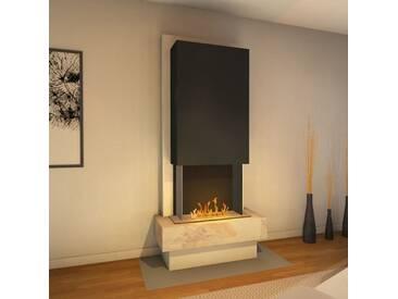 muenkel design Milano [moderner Design Ethanolkamin]: Blanco (Schiefer beige) - safetybox 3.0 - Haube Schwarzgrau