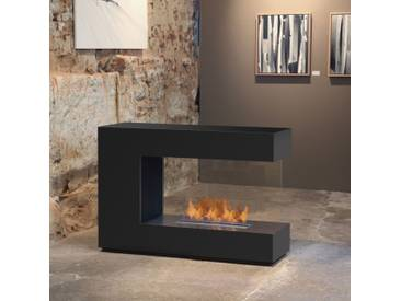 muenkel design loft.line -- C-02 [Design Raumteiler Ethanol Kamin]: Tiefschwarz - PrimeFire Pro