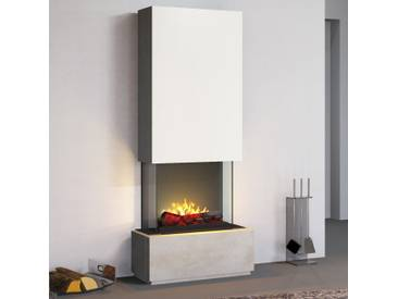 muenkel design Prato [Elektrokamin Opti-myst heat]: Blanco (Schiefer beige) - Haube Reinweiß - Mit Heizung - 80 cm