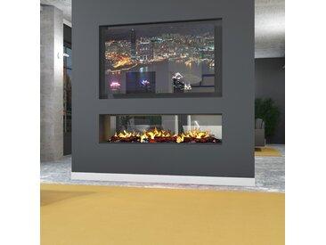 muenkel design e-tunnel PRO pure 2200 [Opti-myst Elektrokamineinsatz]: Wasserleitung - Ohne Glasscheibe - 2.000 Watt Heizleistung - Kieswanne Edelstahl-Look mit schwarzen Steinen
