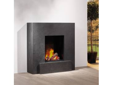 muenkel design Vulcano [quadratischer Ethanolkamin mit Sockel, Schiefer verkleidet]: Negro (Schiefer schwarz) - L - safetybox 3.0