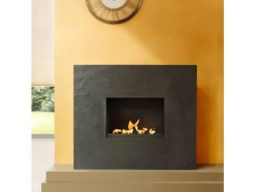 muenkel design Palazzo Grande [rechteckiger Ethanolkamin, Schiefer verkleidet]: Blanco (Schiefer beige) - Mit Glasscheibe - line burner 500