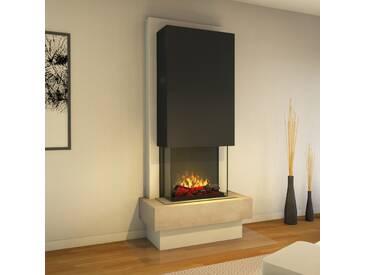 muenkel design Milano [moderner Design Elektrokamin Opti-myst heat]: Blanco (Schiefer beige) - Haube Schwarzgrau - Ohne Heizung