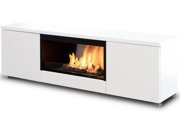 Planika Pure Flame TV Box mit automatischem Ethanol Brenner: ohne Mesh-Geflecht - mit Fernbedienung - Weiß