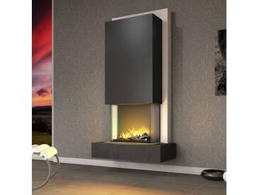 muenkel design Arco [Elektrokamin Opti-myst heat]: Negro (Schiefer schwarz) - Haube Schwarzgrau - Mit Heizung