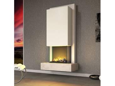 muenkel design Arco [Elektrokamin Opti-myst heat]: Blanco (Schiefer beige) - Haube Reinweiß - Ohne Heizung