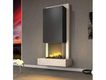 muenkel design Arco [Elektrokamin Opti-myst heat]: Blanco (Schiefer beige) - Haube Schwarzgrau - Ohne Heizung