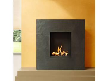 muenkel design Palazzo [quadratischer Ethanolkamin, Schiefer verkleidet]: Blanco (Schiefer beige) - Mit Glasscheibe