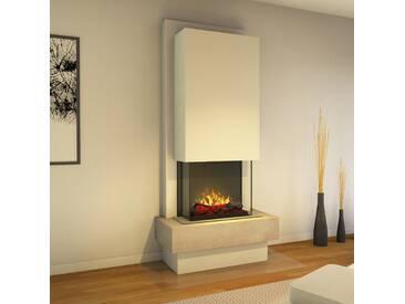 muenkel design Milano [moderner Design Elektrokamin Opti-myst heat]: Blanco (Schiefer beige) - Haube Reinweiß - Mit Heizung