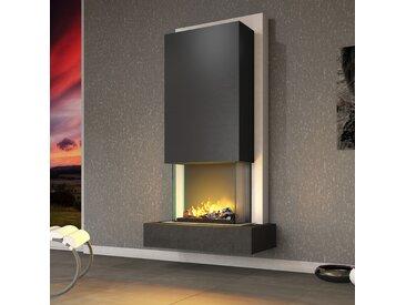 muenkel design Arco [Elektrokamin Opti-myst heat]: Negro (Schiefer schwarz) - Haube Schwarzgrau - Ohne Heizung