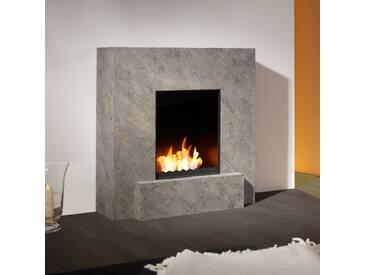 muenkel design Vulcano [quadratischer Ethanolkamin mit Sockel, Schiefer verkleidet]: Blanco (Schiefer beige) - L - line burner 500