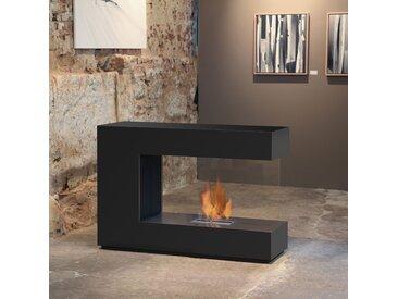 muenkel design loft.line -- C-02 [Design Raumteiler Ethanol Kamin]: Tiefschwarz - safetybox 3.0