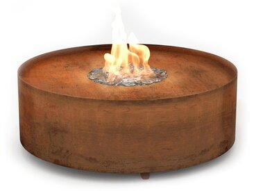 Planika Galio Fire Pit Corten [Gaskamin Außenbereich]: Gasflasche (Propan, Butan) - mit Fernbedienung - mit Glaszylinder - Automatisch