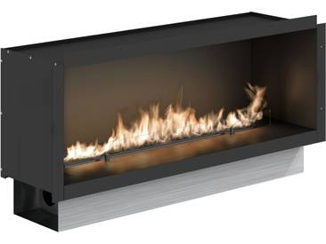 Planika Fire Line Automatik 2 (FLA2) Model E in Casing E [Einbaurahmen/Gehäuse]: Edelstahl, gebürstet - mit Rahmen, Schwarz matt - 1290 mm - mit Fernbedienung