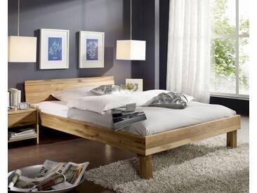 3S Frankenmöbel Massivholz Bett Campino 100x200 cm / Kopfteil geteilt / Wildeiche geölt