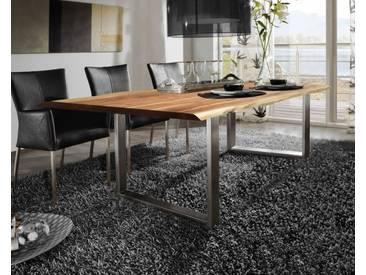 SIT Tops & Tables Baumkante Massivholz Esstisch 160x85 cm / nussbaumfarbig / Metall silbergrau