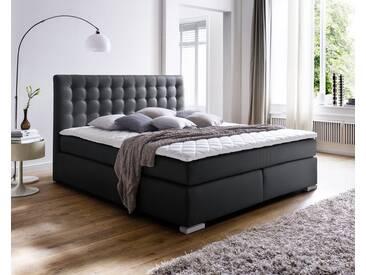 meise.möbel Boxspringbett Isa ohne Matratze / 200x200 cm / ohne / schwarz / glatt