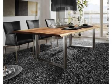 SIT Tops & Tables Baumkante Massivholz Esstisch 200x100 cm / nussbaumfarbig / Metall silbergrau