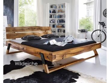 3S Frankenmöbel Massivholz Balkenbett Wild 140x200 cm / Wildeiche geölt / Edelstahloptik
