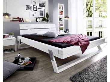 3S Frankenmöbel Massivholz Balkenbett 200x200 cm / honigfarben gebeizt