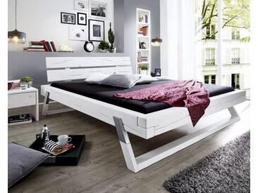 3S Frankenmöbel Massivholz Balkenbett 160x200 cm / eichefarbig gebeizt
