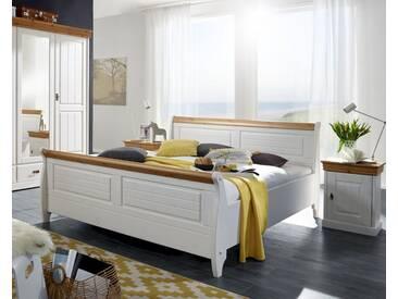 3S Frankenmöbel Massivholz Bett Country 140x200 cm / Weiß / ohne Bettkasten