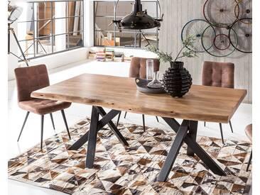 SIT Tops & Tables Esstisch Massivholz Poseidon 5,6 cm / 180x100 cm / Eisen antikschwarz