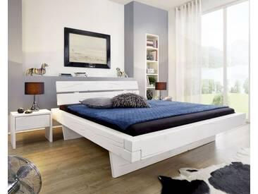 3S Frankenmöbel Massivholz Balkenbett Hover 160x200 cm / Weiß lasiert / mit Schubkasten