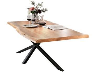 SIT Tops & Tables Massivholz Esstisch Futura 180x90 cm / Eisen antiksilber / 3,6 cm