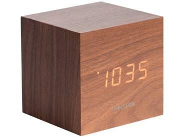 Present Time Tischuhr Mini Cube Braun
