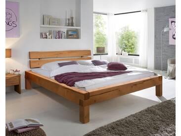 3S Frankenmöbel Massivholz Balkenbett Young 200x200 cm / Eichefarbig