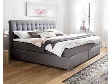 meise.möbel Boxspringbett Lenno ohne Matratze / 200x200 cm / ohne / grau / gesteppt