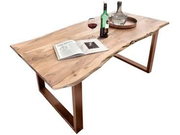 SIT Tops & Tables Esstisch Massivholz Akazie Baumkante Slim 160x85 cm / Eisen antiksilber