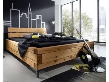3S Frankenmöbel Massivholz Balkenbett High 200x200 cm / Honigfarben gebeizt