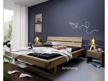 3S Frankenmöbel Balkenbett Massivholz 160x200 cm / Eichefarbig honig gebeizt