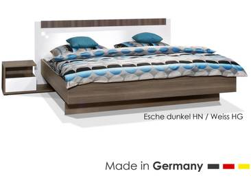 ArteM Bett basic schwebend Eiche dunkel / Steingrau 180x200 cm