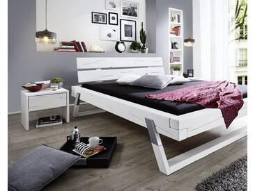 3S Frankenmöbel Massivholz Nachttisch Fichte Weiß lasiert / B 40 x H 45,5 x T 35 cm