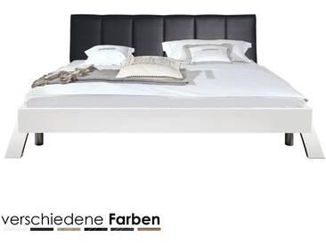 ArteM Bett Swing mit Polsterkopfteil 180x200 cm Nussbaum / Kunstleder Schwarz